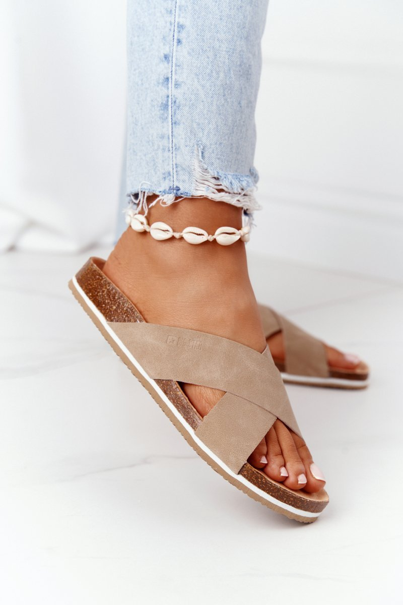 Leather Profiled Slippers Big Star HH274593 Beige