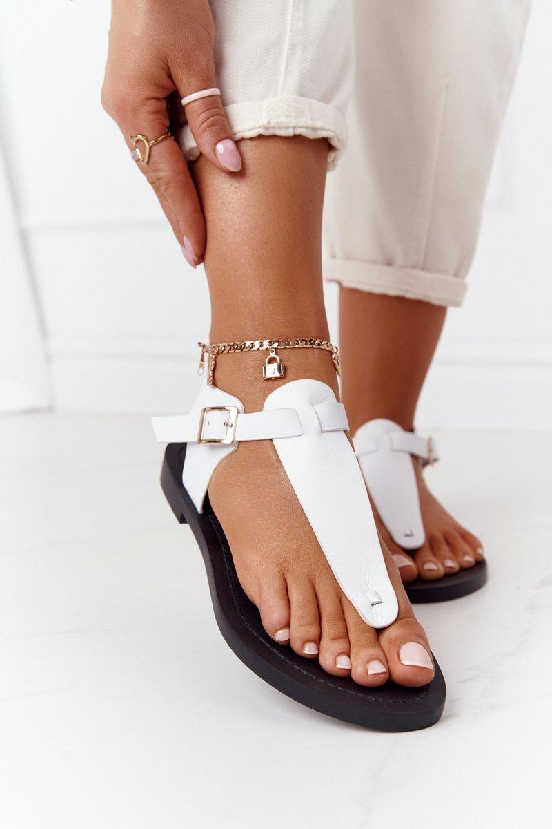 Leather Sandals Flip-flops Big Star HH274702 White