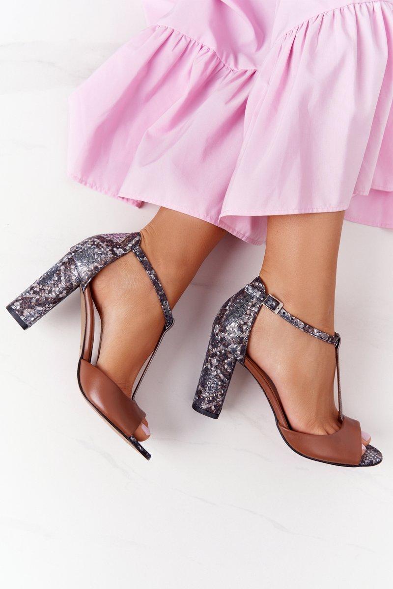 Leather Sandals On Block Heel Laura Messi 1916 Brown