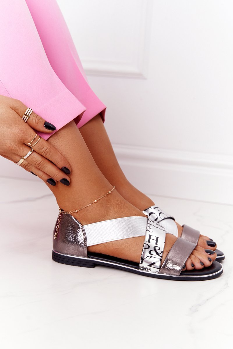 Leather Sandals With Drawstrings Silver Apulia
