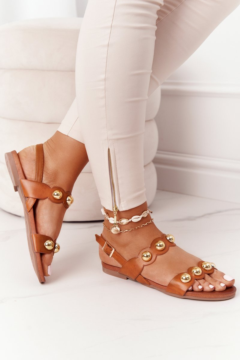Leather Sandals With Studs S.Barski 541-52 Brown