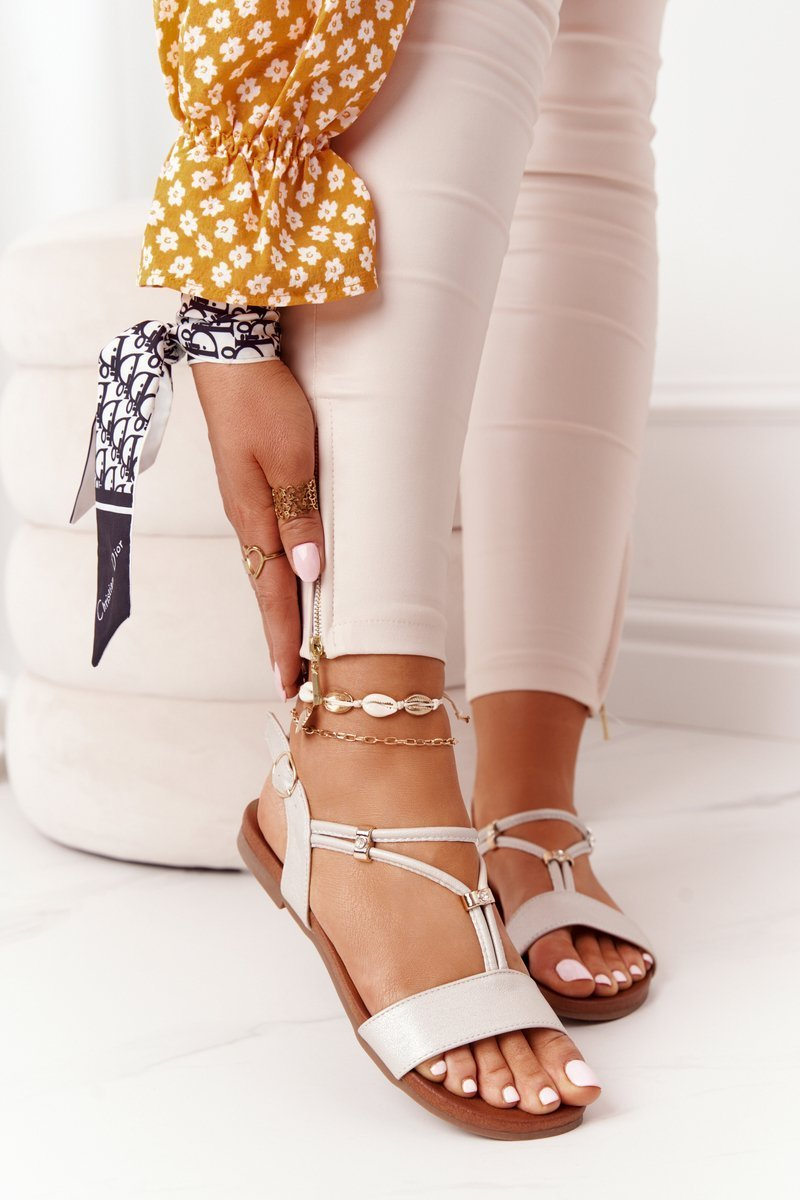 Leather Sandals With Zircons S.Barski 5541 Beige