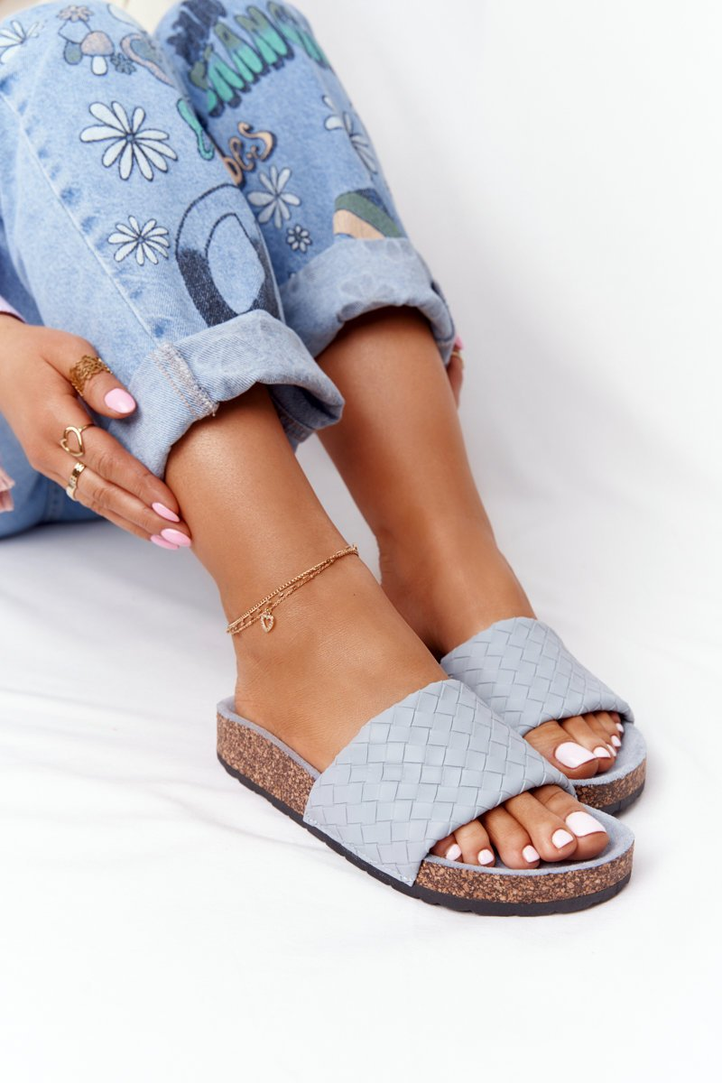 Leather Slippers On The Cork Sole Light Blue Catalina