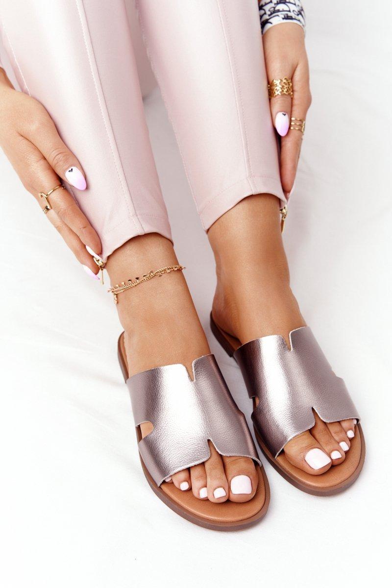 Leather Slippers Sergio Leone SK 063 Silver