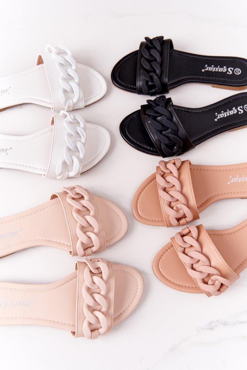 Leather Slippers With A Chain Beige Step By Step