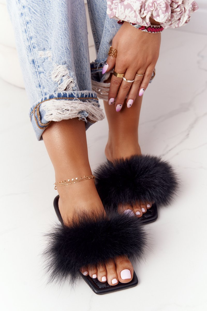 Leather Slippers With Eco Fur Black Love You So