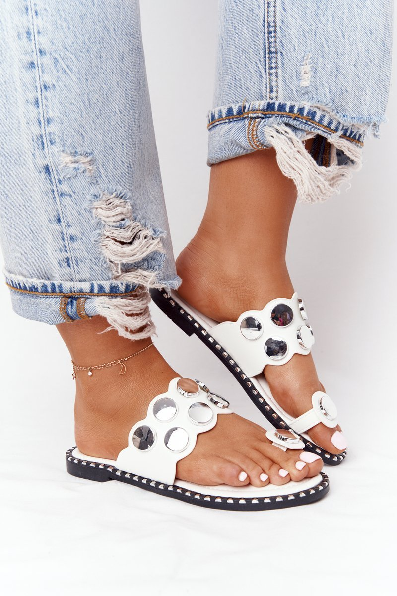 Leather Slippers With Rhinestones White Ava