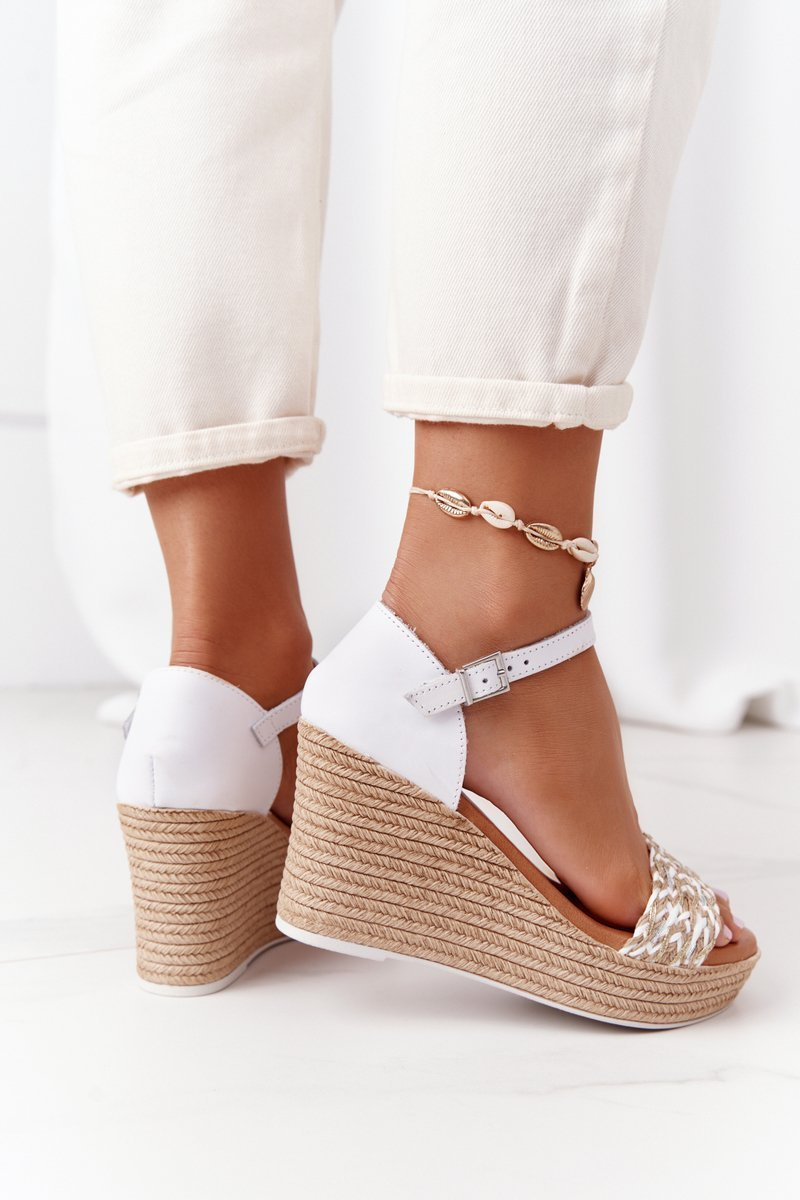 Leather Wedge Sandals Maciejka L4869-11 White