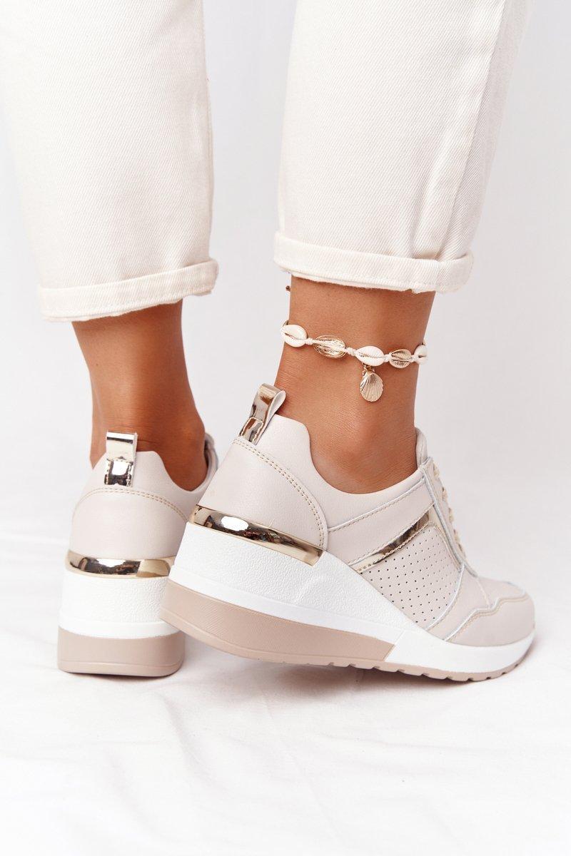 Leather Wedge Sneakers S.Barski Beige