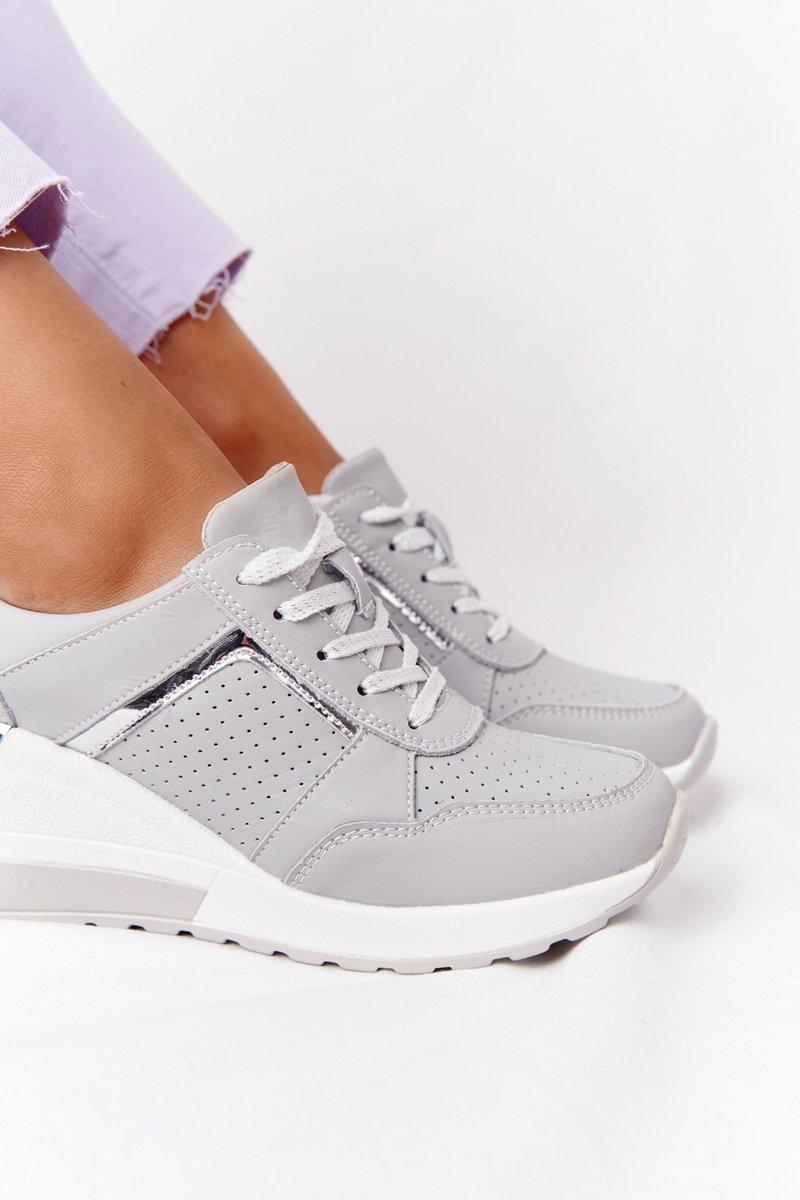 Leather Wedge Sneakers S.Barski Grey