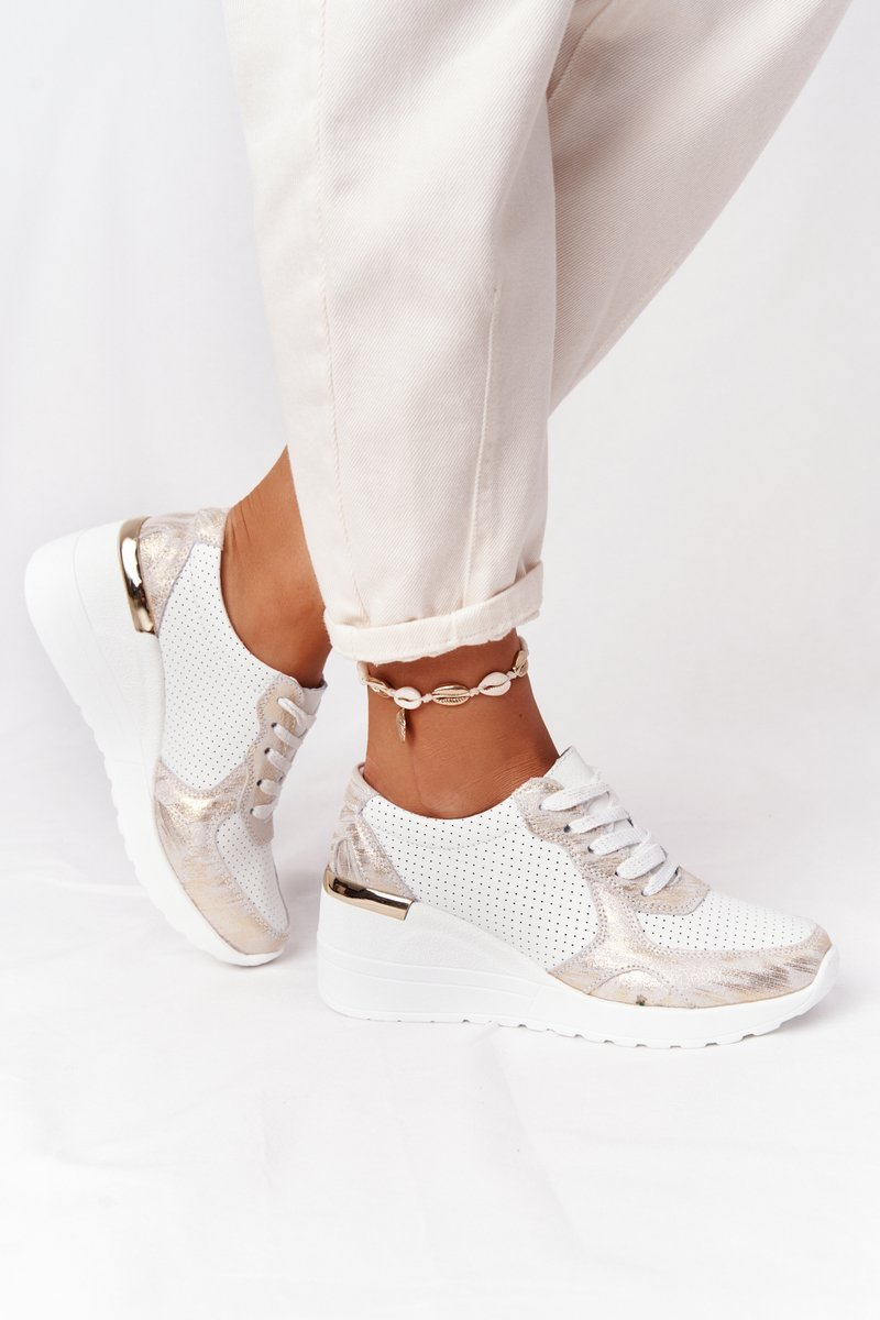 Leather Wedge Sneakers S.Barski White-Gold