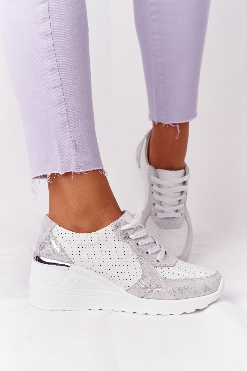 Leather Wedge Sneakers S.Barski White-Silver