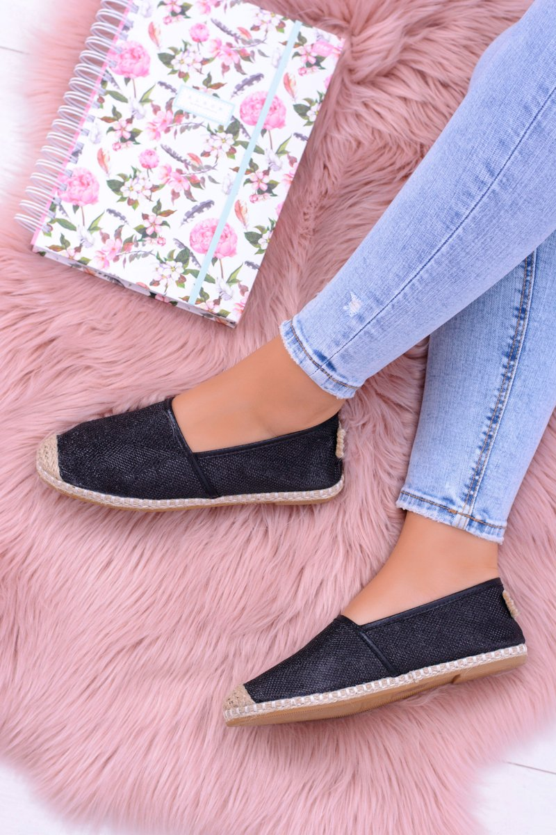 Lu Boo Black Women Espadrilles Slip On Brocade Miravet
