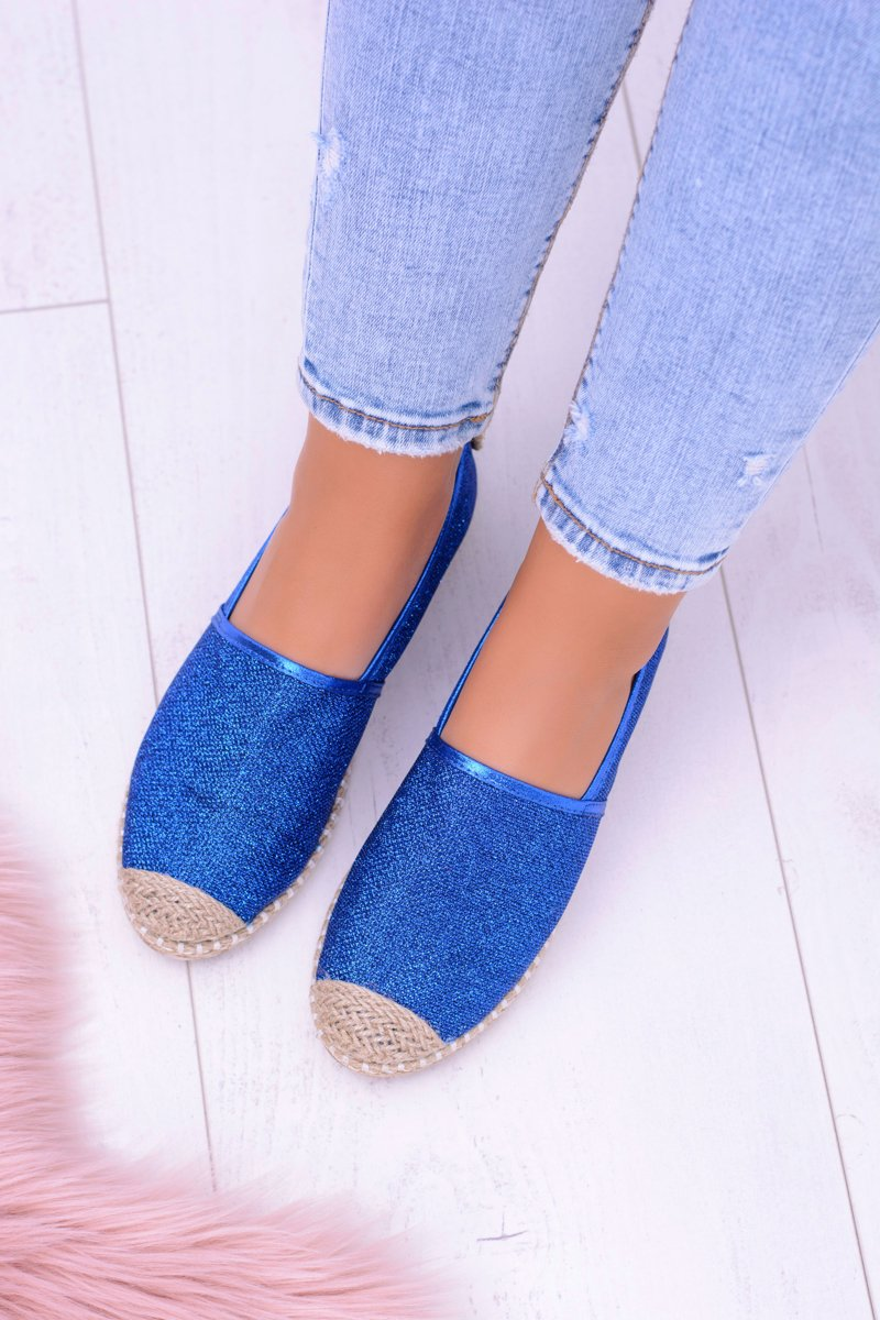 Lu Boo Blue Women Espadrilles Slip On Brocade Miravet