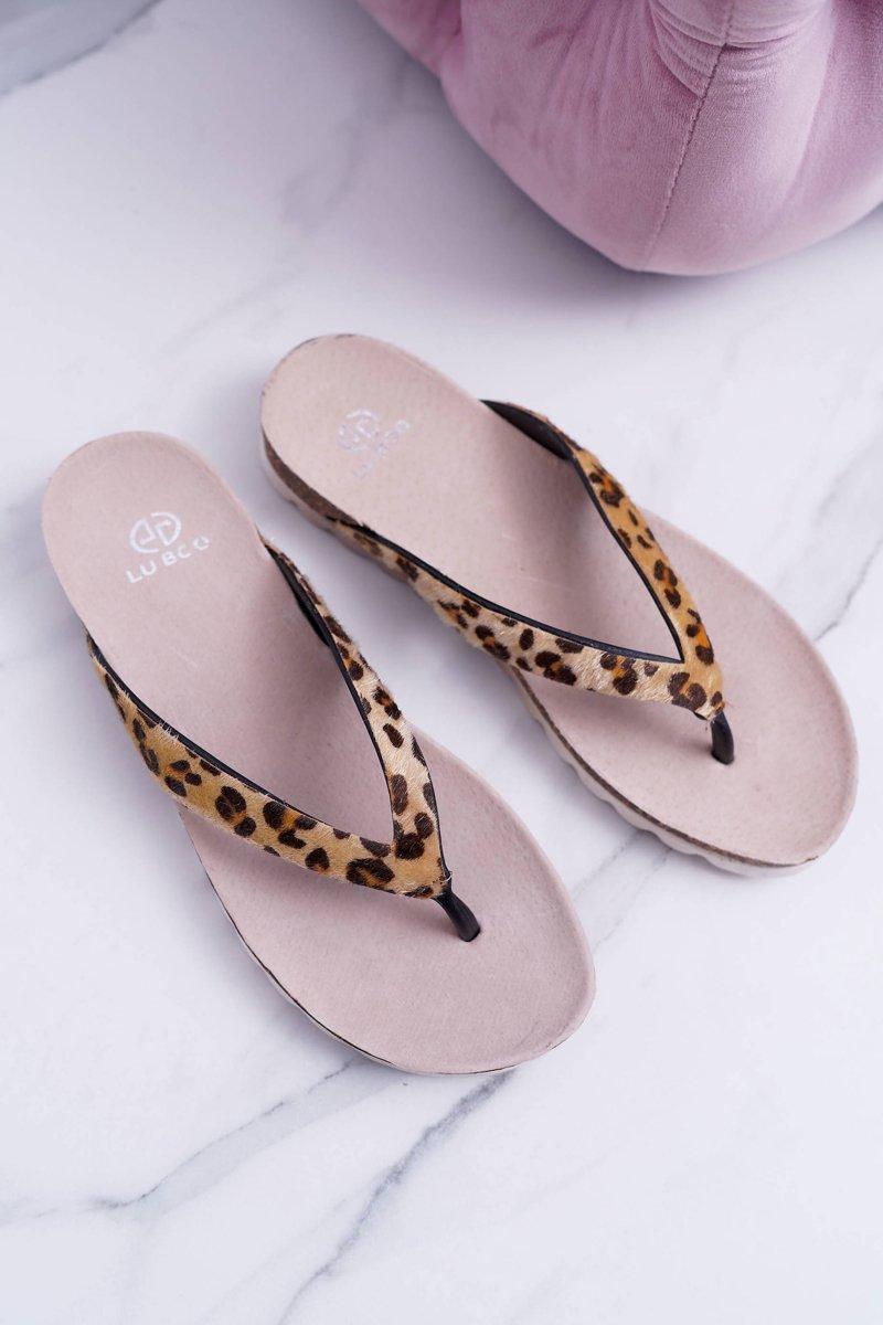 Lu Boo Cork Flip Flops for Summer Leopard