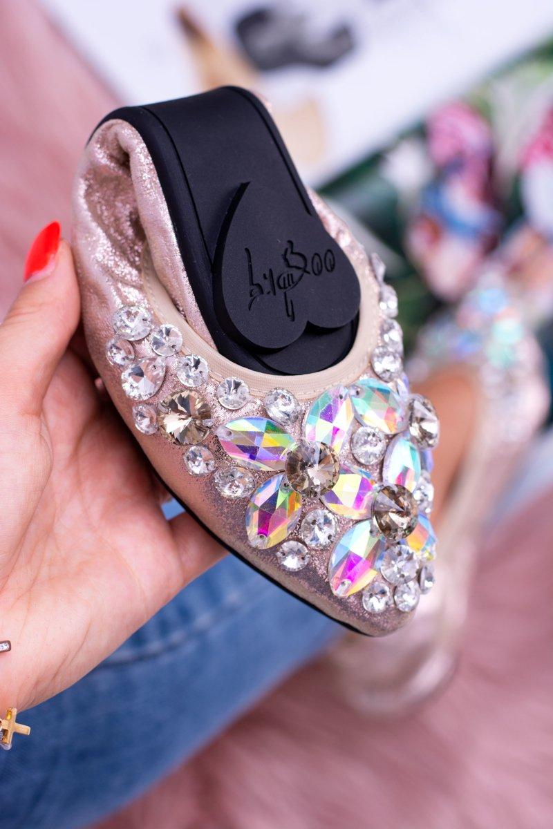 Lu Boo Gold Ballerinas Zircons Stones Even
