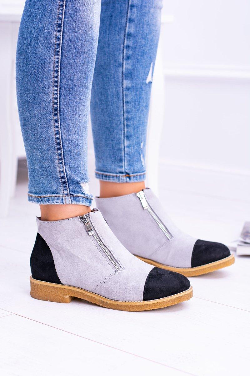 Lu Boo Grey Suede Women Boots With Sliders Inez