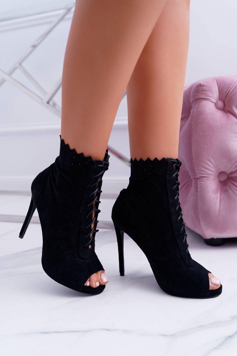 Lu Boo Laced Black Booties Sandals On High Heels Natasha