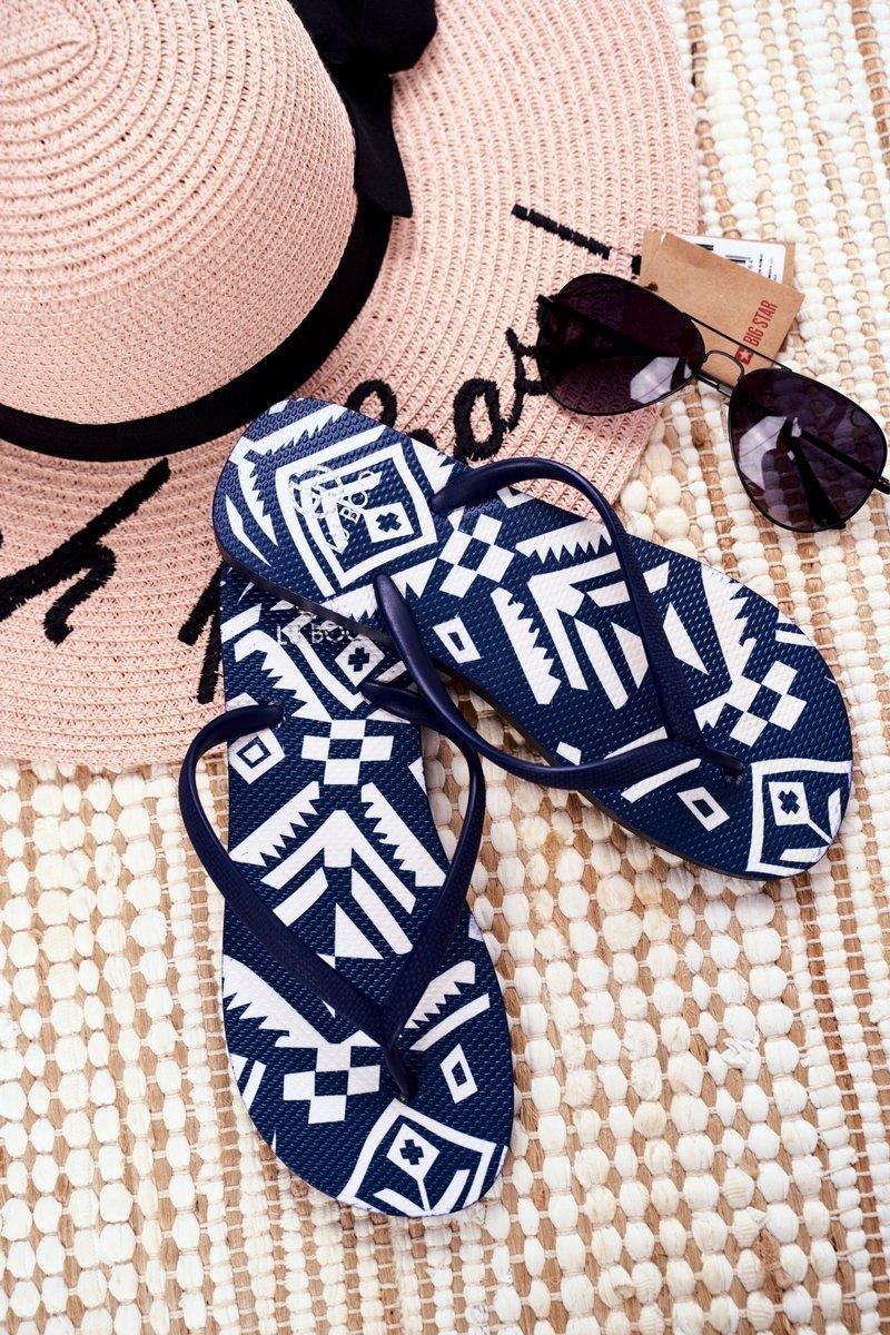 Lu Boo | Navy Blue Women's Flip Aztec Flip-flops Havanna