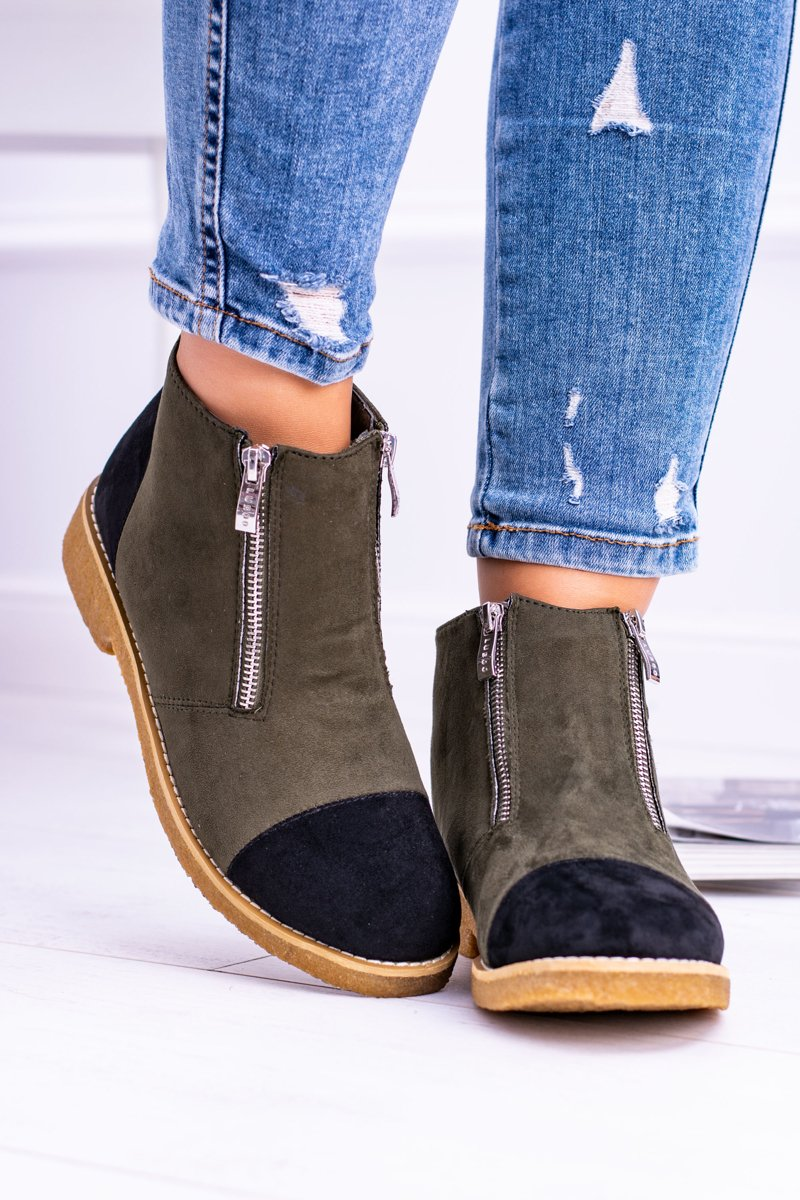 Lu Boo Olive Suede Women Boots With Sliders Inez