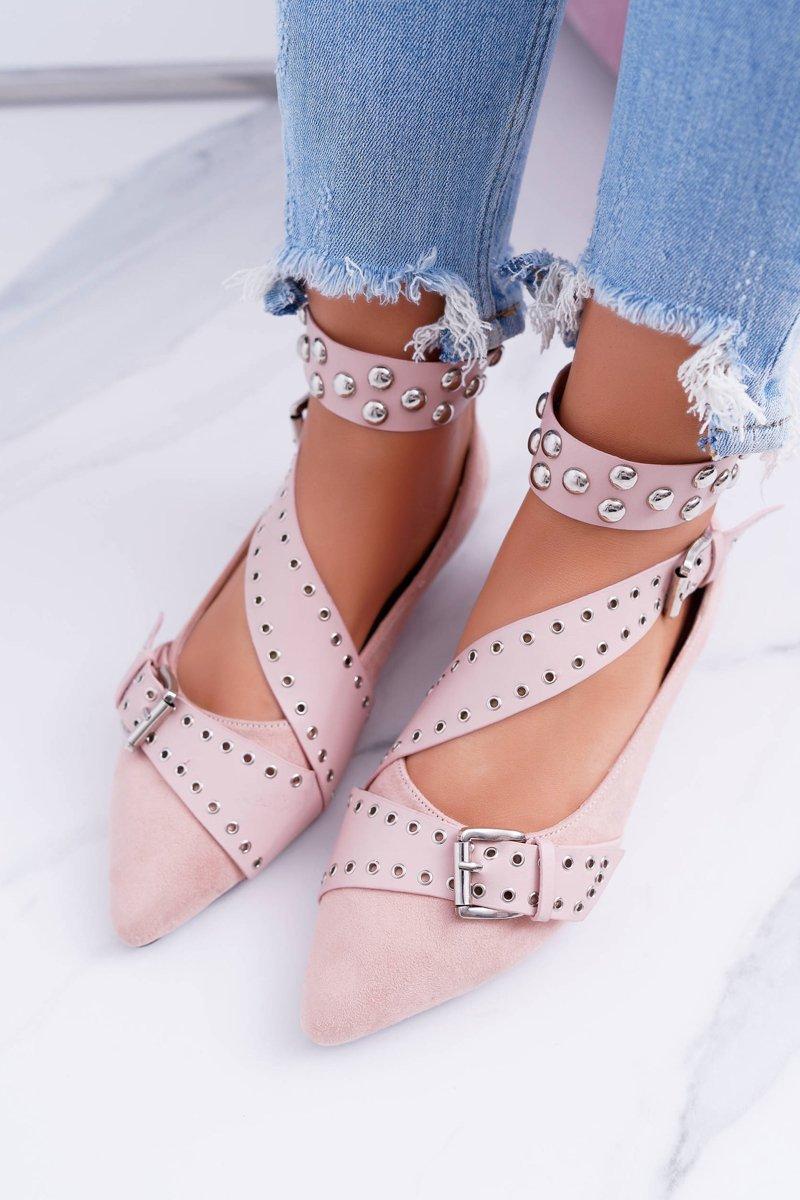 Lu Boo   Pink Ballerina Belts Rivets In Spike Esteria