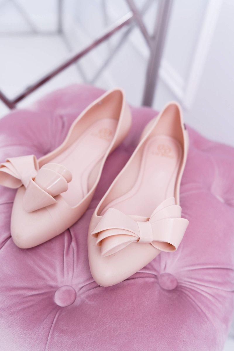 Lu Boo Pink Rubber Ballerinas Big Bow