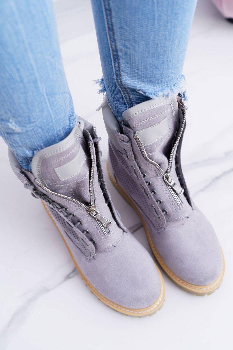 Lu Boo Women's Grey Suede Boots Nancy
