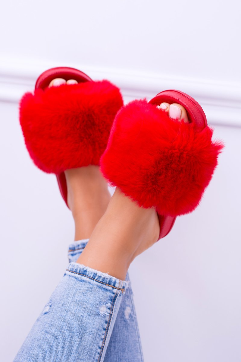 Lu Boo Women's Red Slippers With Fur FUR XXL