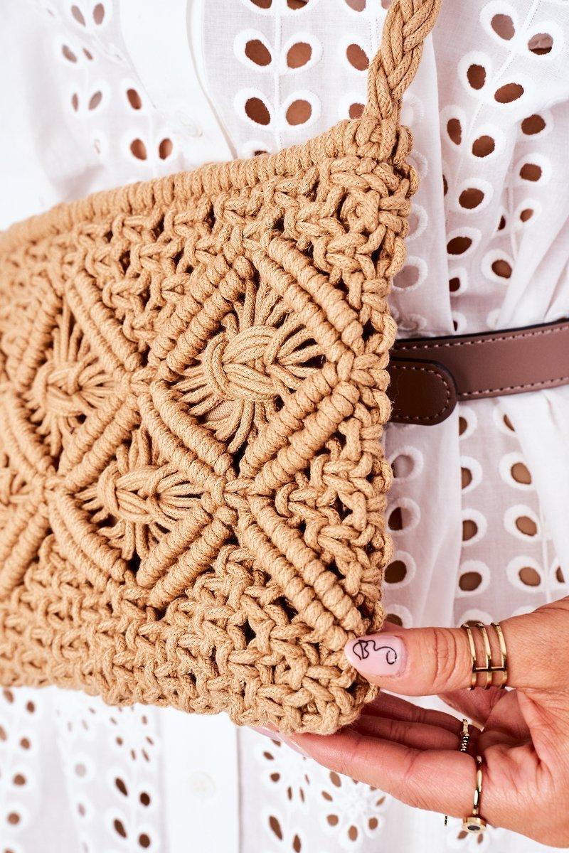 Macrame Messenger Bag BRUNO ROSSI Camel