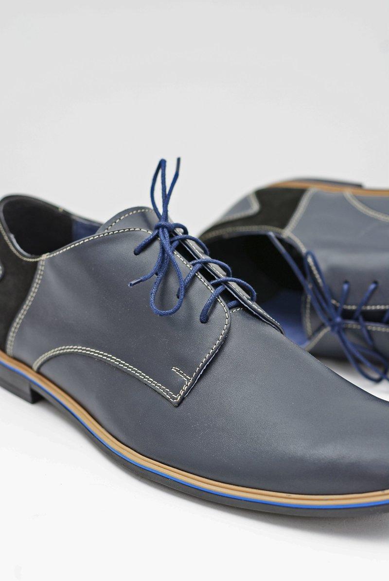 Men's Brogues Bednarek Elegant Leather Navy Blue Biagio