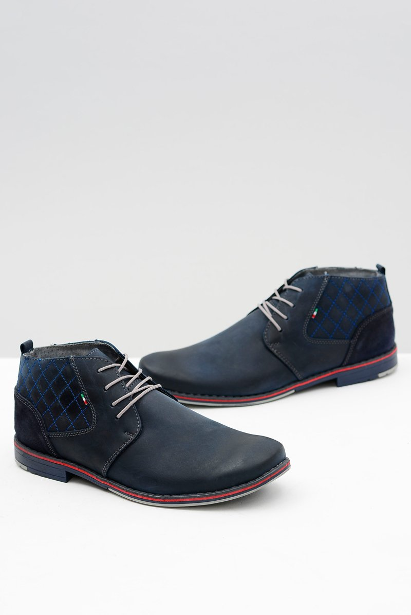 Navy Blue Leather Men Brogues Graziano
