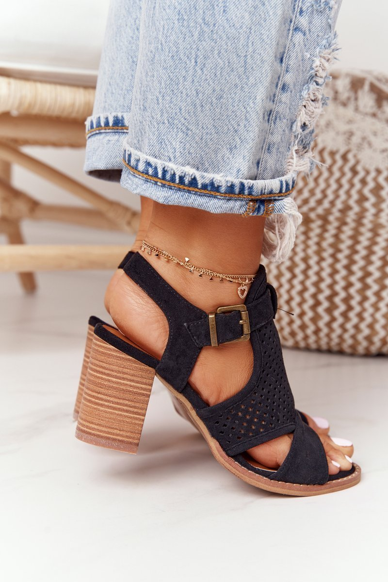 Openwork Sandals On A Block Heel Black Hey Lover