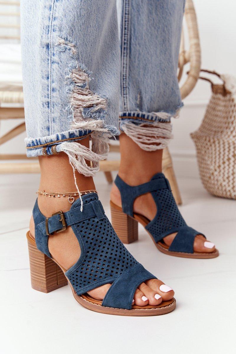 Openwork Sandals On A Block Heel Blue Hey Lover