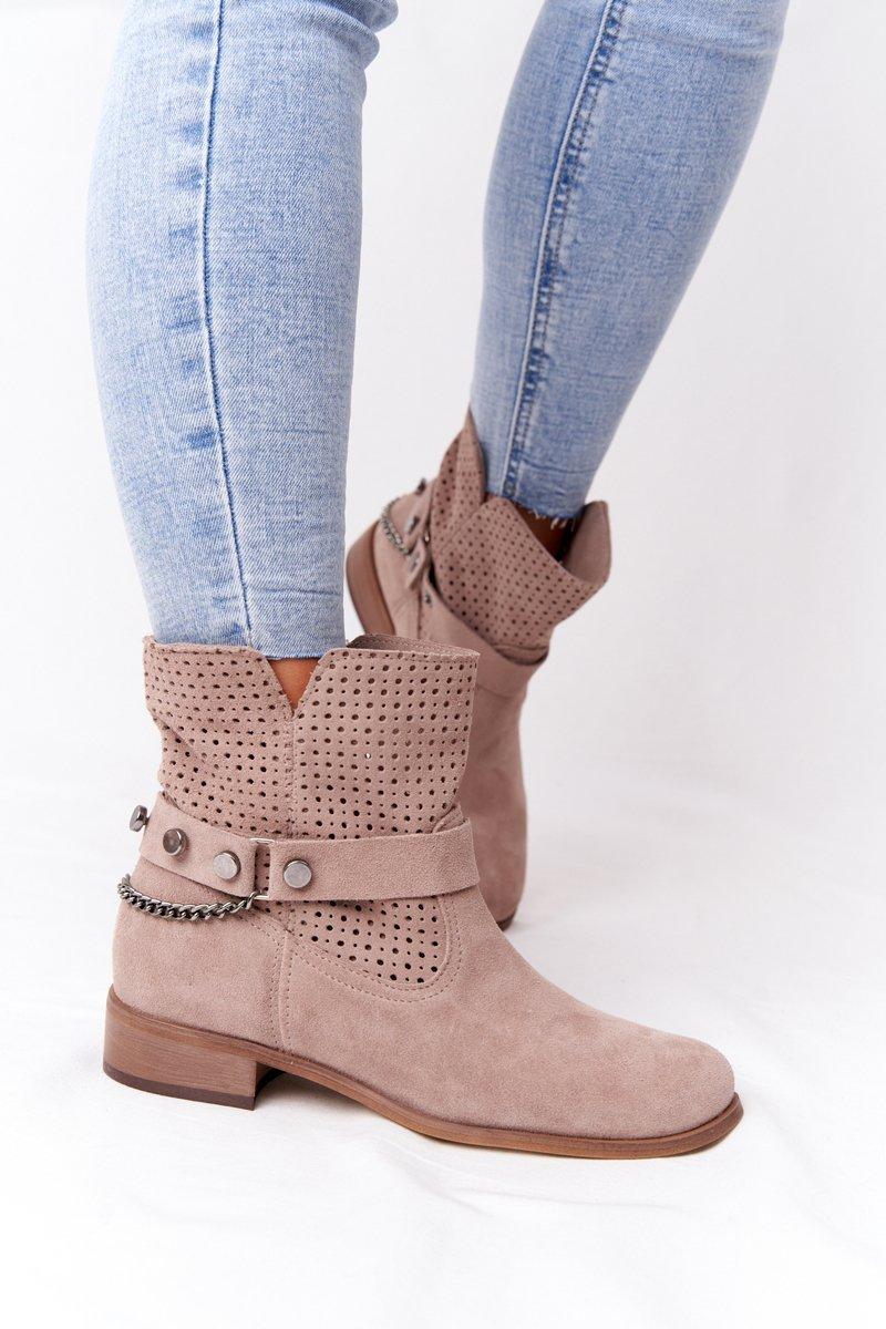 Openwork Spring Boots Lewski Shoes 2905-0 Beige