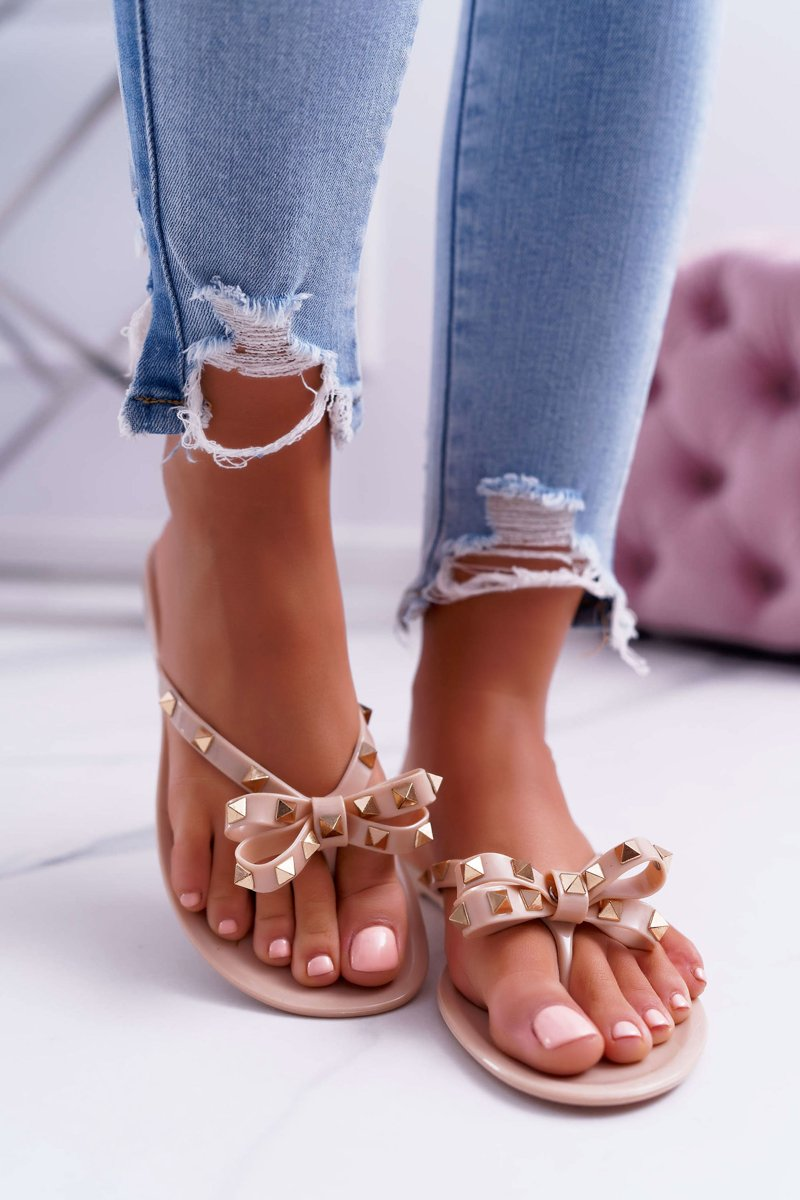 Rubber Flip Flops With Studs Lu Boo Beige