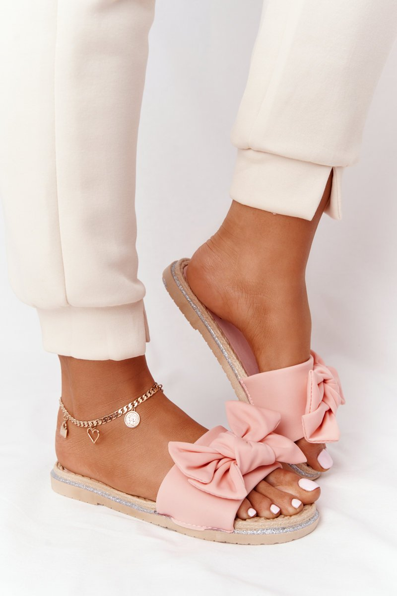Rubber Slippers With A Bow Coral Andrea