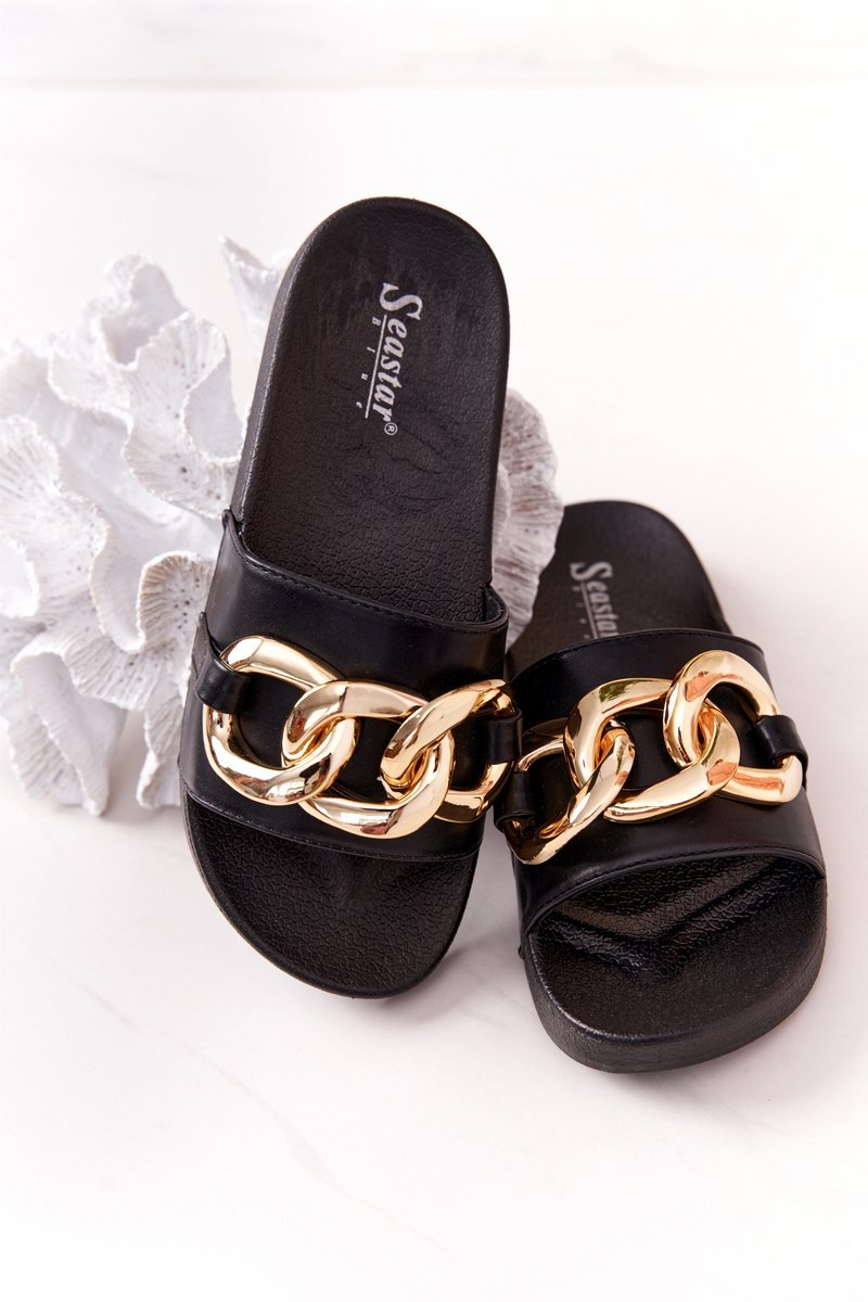 Rubber Slippers With Chain Black One Moment