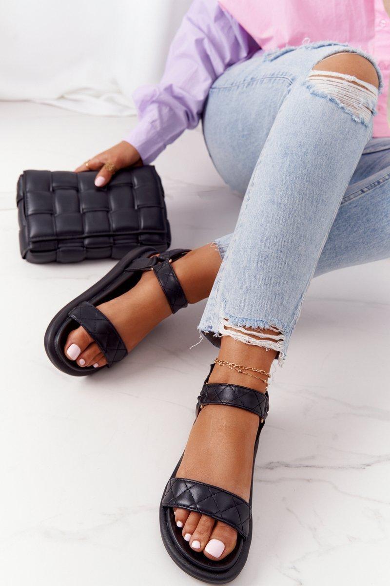 Sandals With Quilting On The Platform Black Turn Around