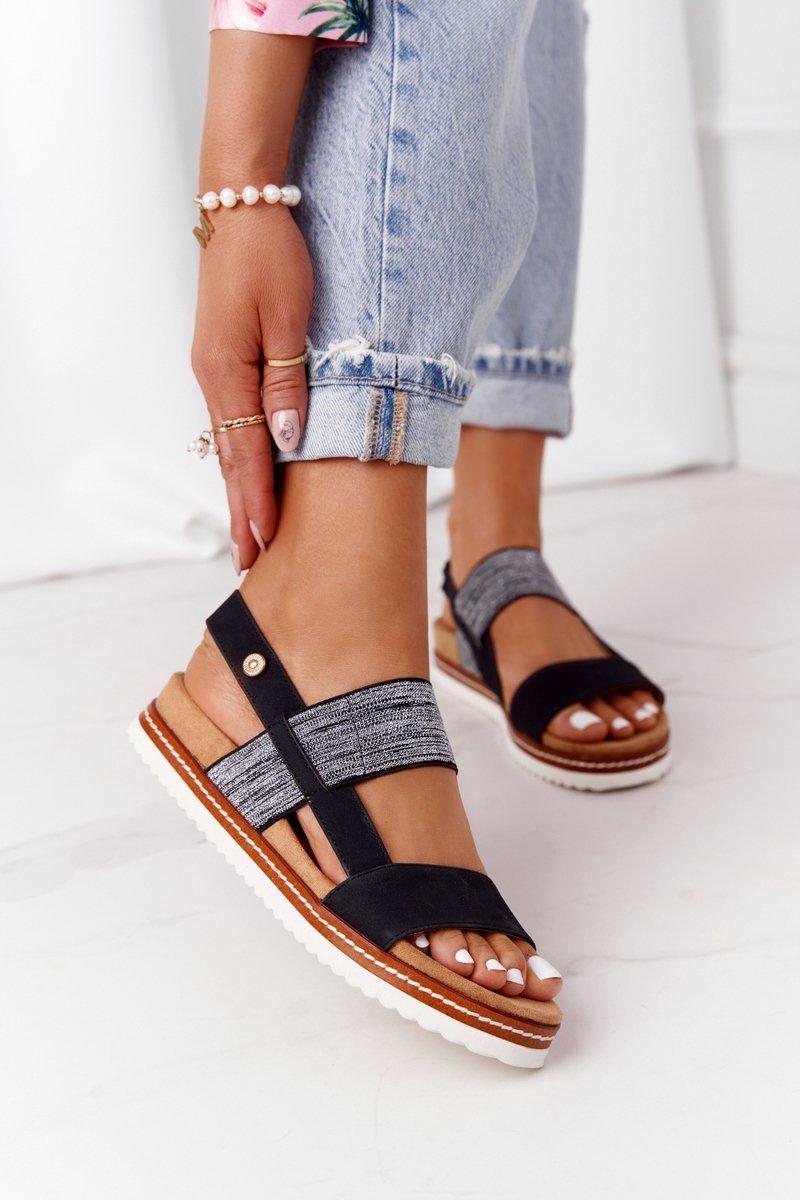 Sandals With Silver Drawstring Black Almeria