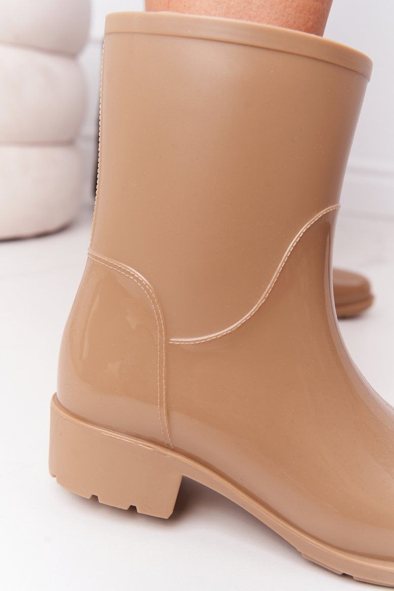 Shiny Rubber Boots Galoshes Beige Rainy Day