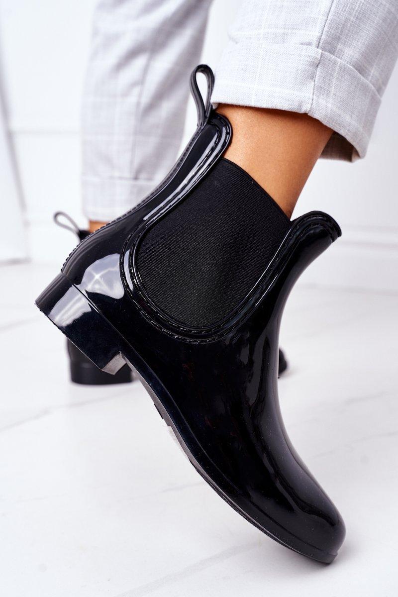 Shiny Rubber Boots Galoshes Black Umbrella