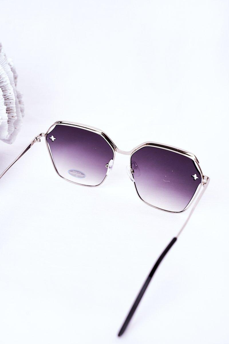 Silver Geometric Sunglasses Black Ombre
