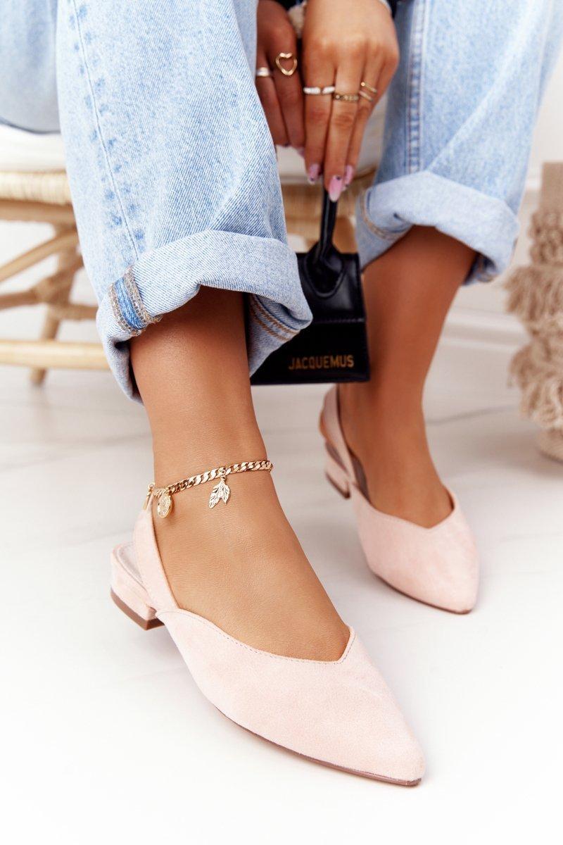 Suede Ballerinas On A Heel S.Barski Pink