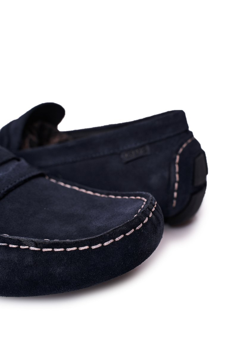 Suede Casual Loafers GOE HH1N4065 Navy Blue