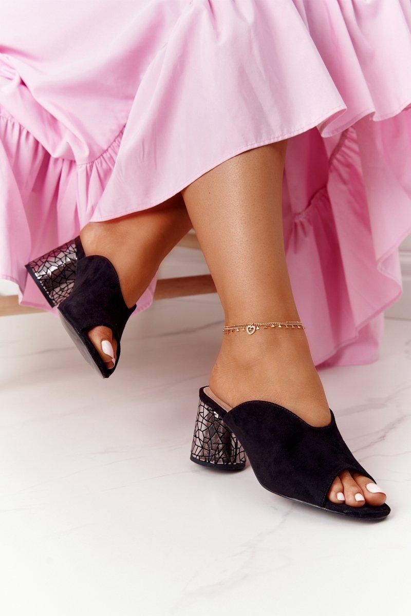 Suede Heeled Slippers S.Barski C420-15 Black