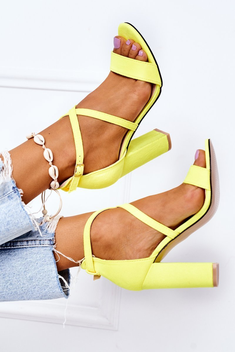 Suede High Heel Sandals Fluo Yellow Dance With Me