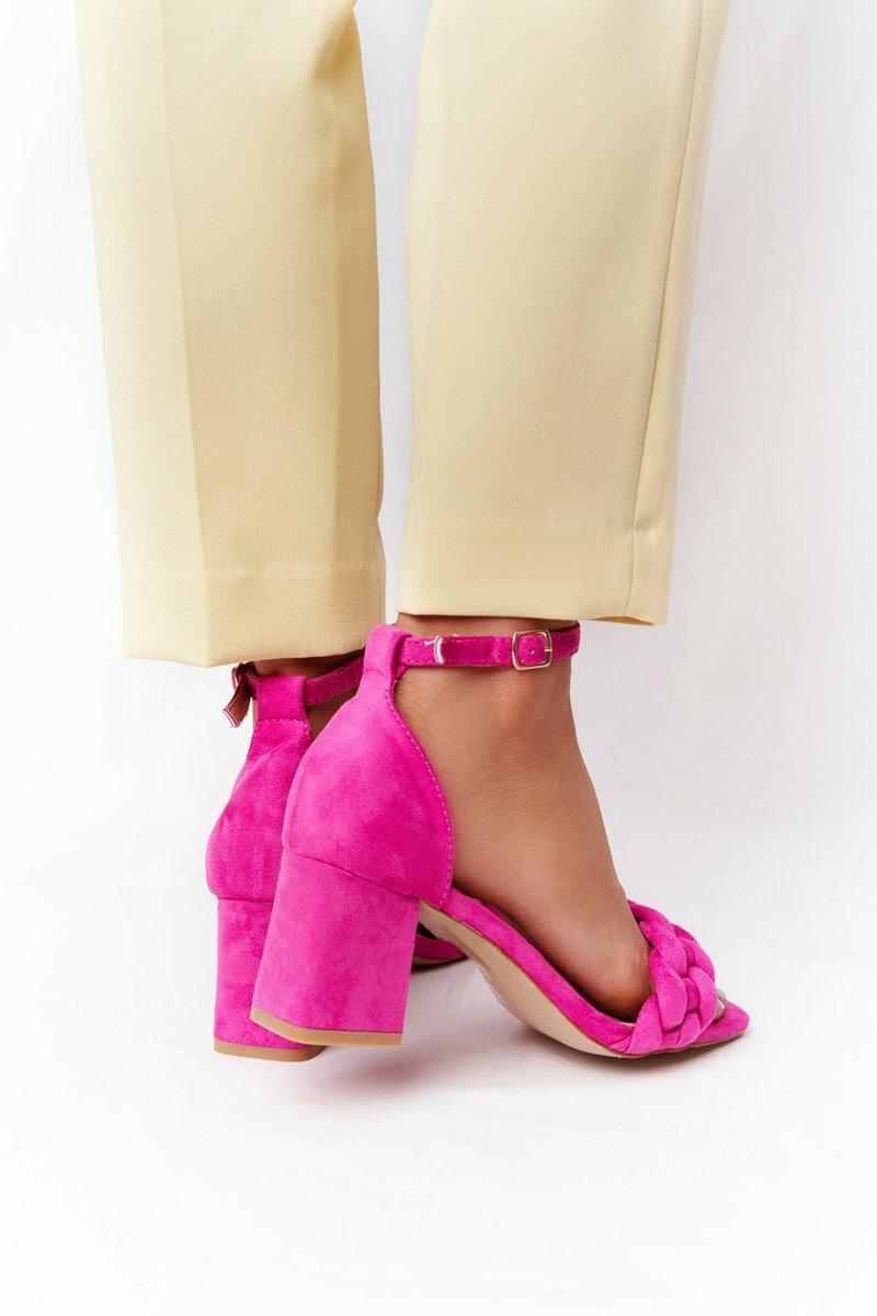 Suede High Heel Sandals Fuchsia Long Island