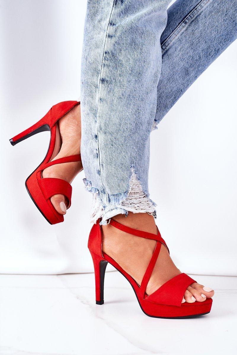 Suede High Heel Sandals Red Lizzy