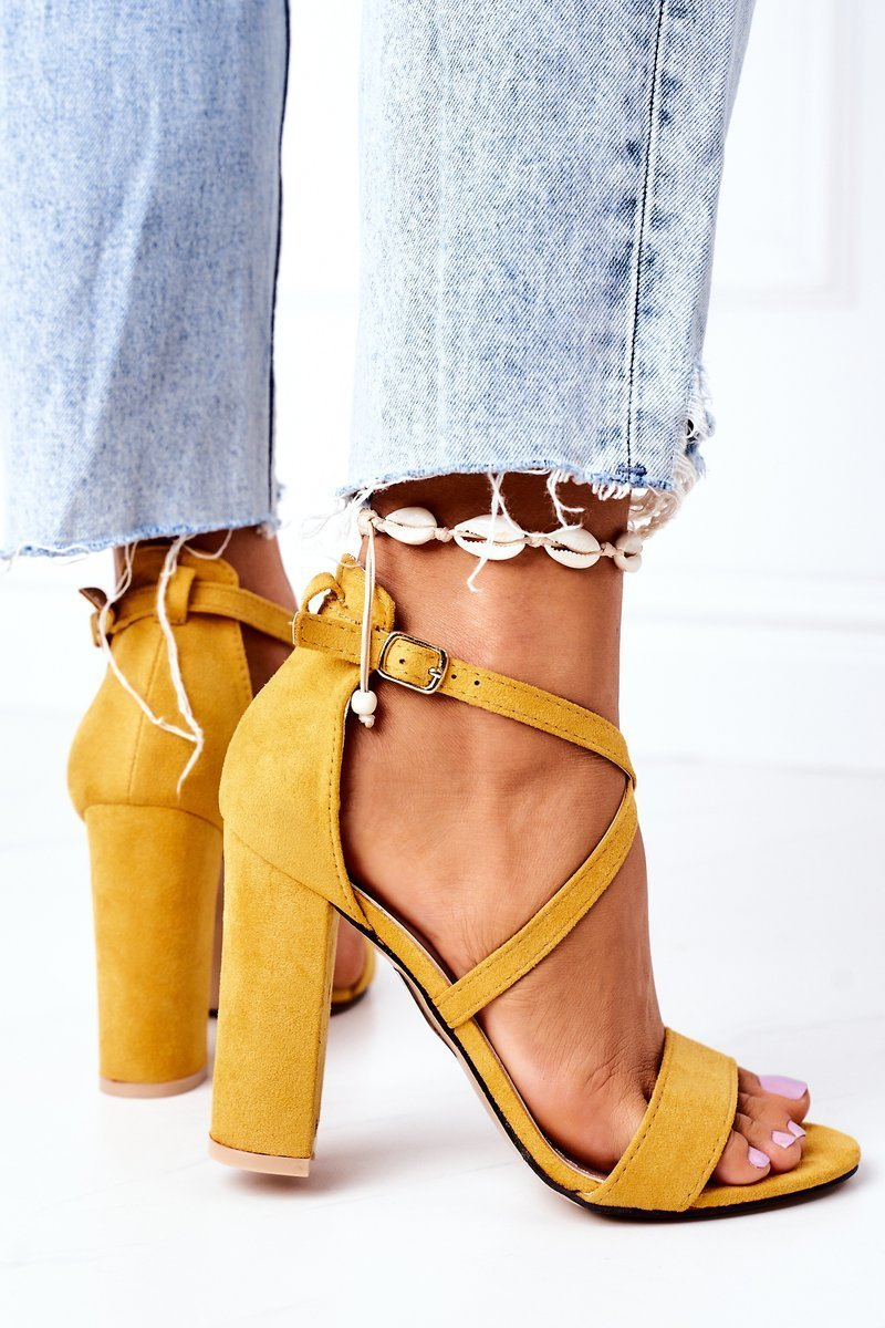 Suede High Heel Sandals Yellow Dance With Me