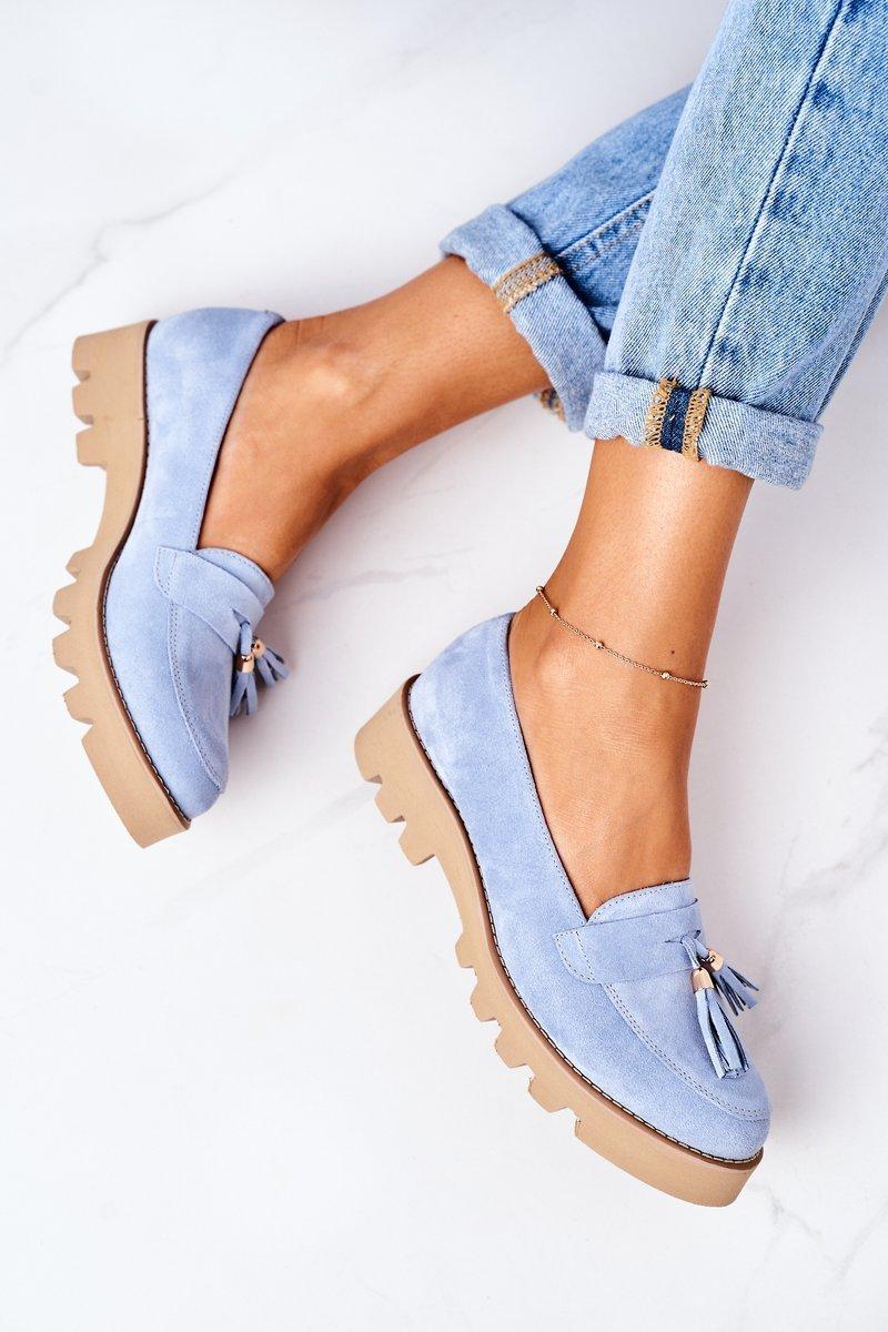 Suede Moccasins Lewski Shoes 3053 Light Blue